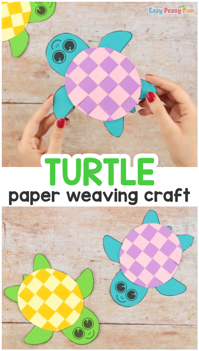 Paper Weaving Turtle Craft. Simple paper craft for kids.