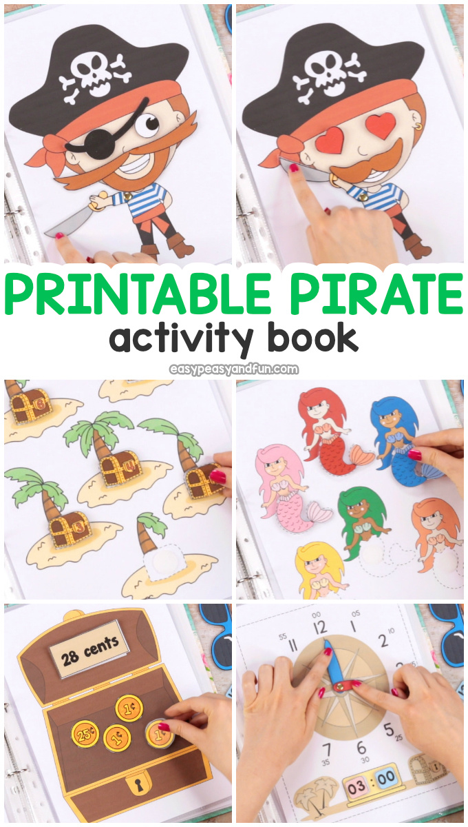 image about Pirates Printable Schedule called Printable Pirate Relaxed Ebook - Recreation Guide for Preschool