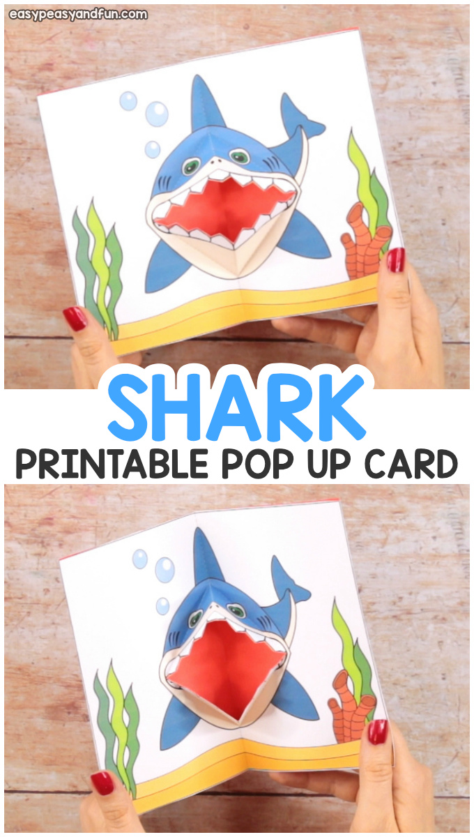 photo relating to Printable Pop Up Cards referred to as Shark Pop Up Card - Straightforward Peasy and Exciting