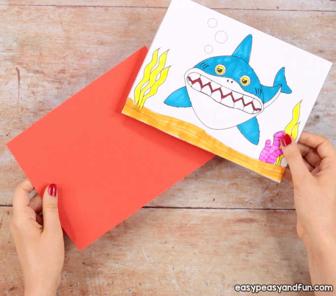 graphic about Printable Pop Up Cards named Shark Pop Up Card - Basic Peasy and Entertaining