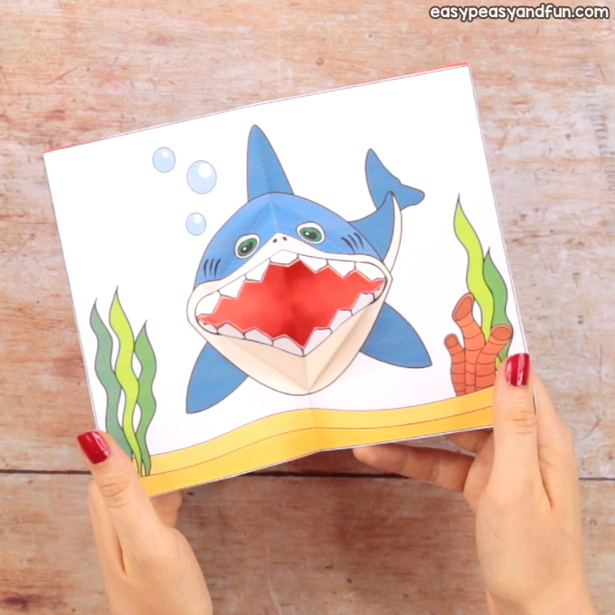 picture about Printable Pop Up Cards identified as Shark Pop Up Card - Basic Peasy and Enjoyment