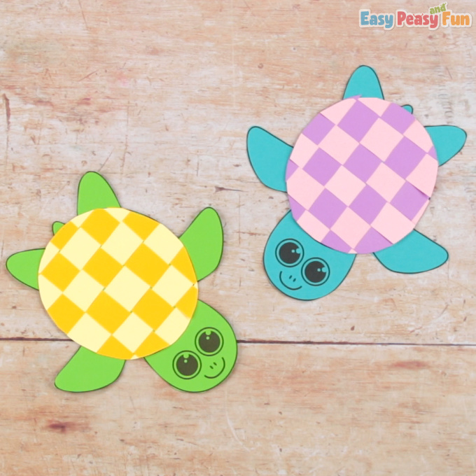 Turtle Paper Weaving Craft for Kids