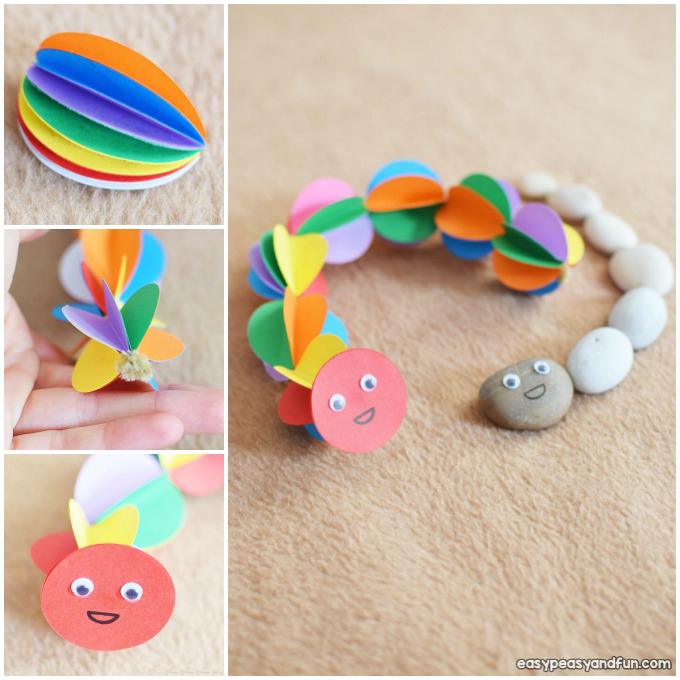 Colorful Paper Caterpillar Craft Idea