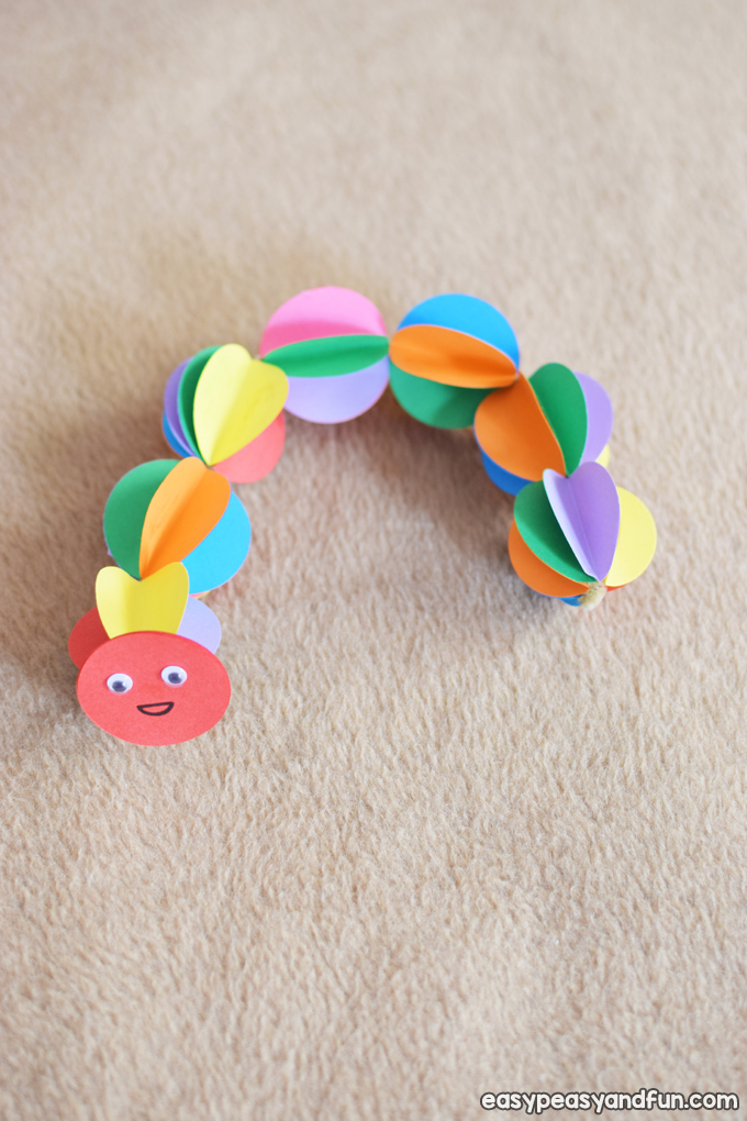 Colorful Paper Caterpillar Craft for Kids to Make