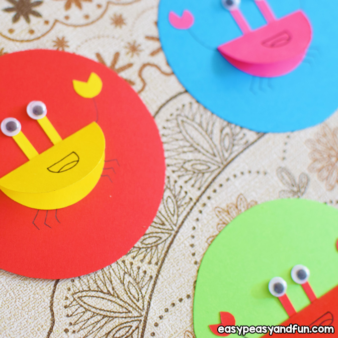 Colorful Paper Crabs Craft for Kids to Make