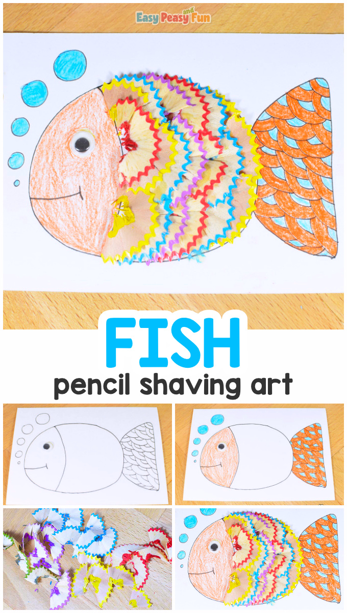 Colorful Pencil Shaving Fish Craft for Kids