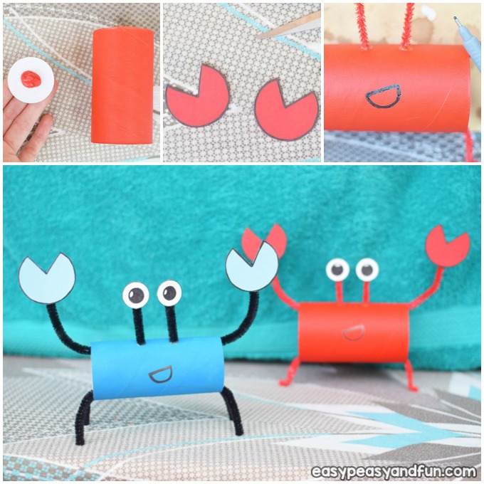 Crab Toilet Paper Roll Summer Craft Idea