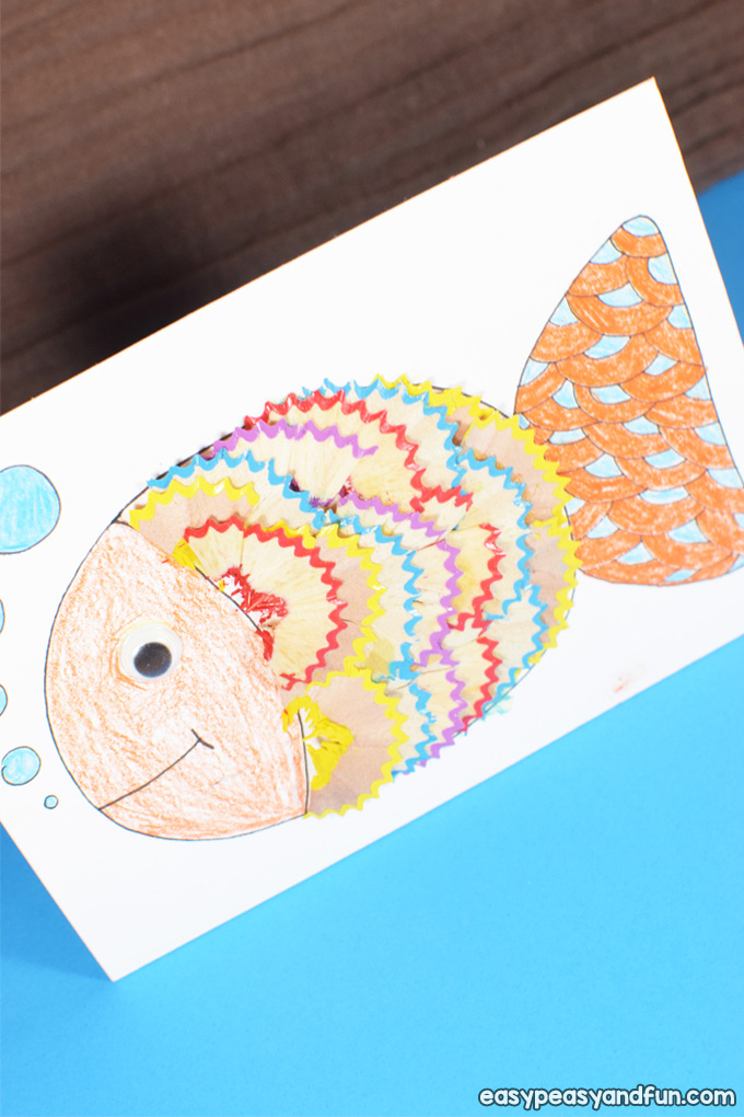 Fish Pencil Shaving Art for Kids to Make