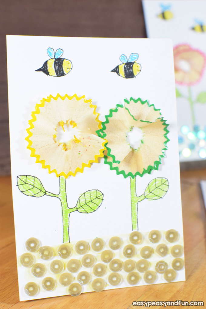 Flowers Pencil Shaving Art for Kids
