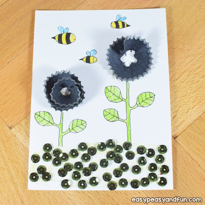 Flowers Pencil Shaving Art for Kids to Make
