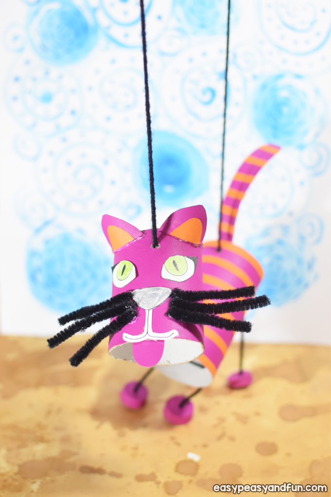 Toilet paper roll craft idea: cat marionette puppet