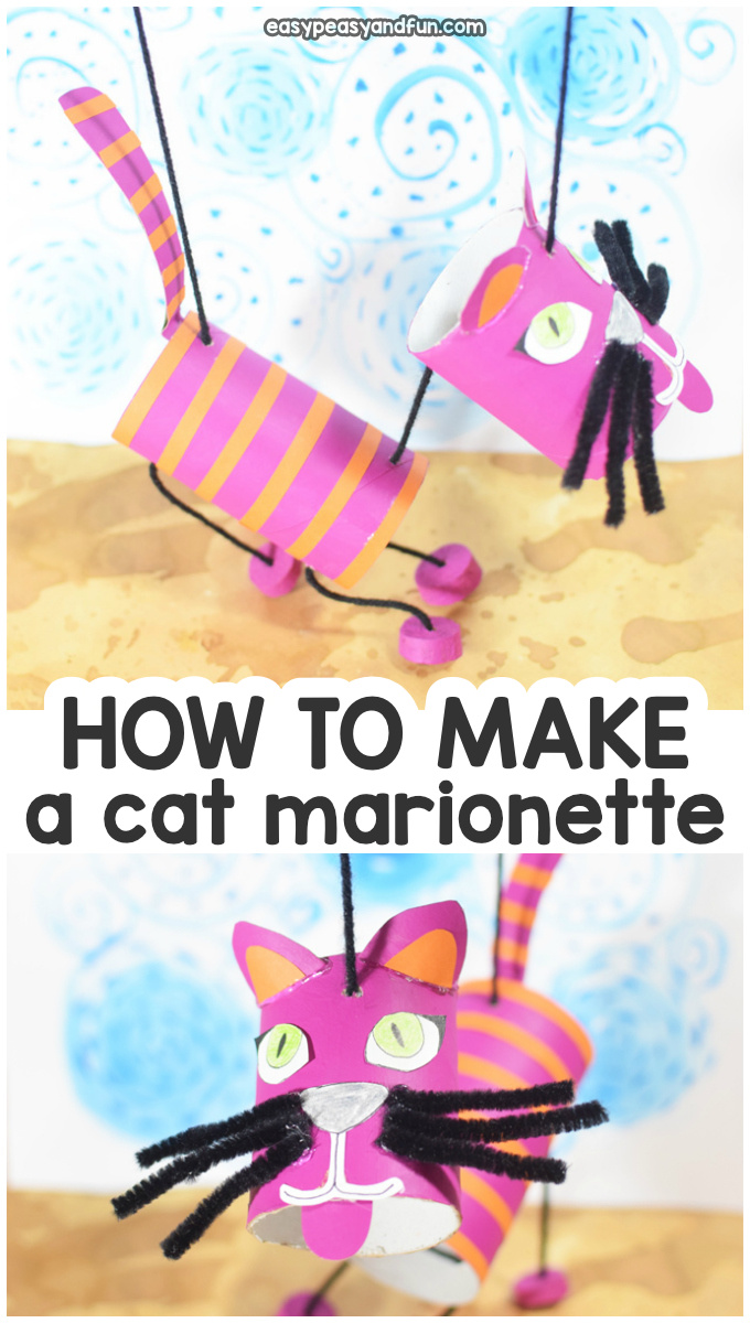 How to make a cat marionette puppet. Fun toilet paper roll craft for kids to make!