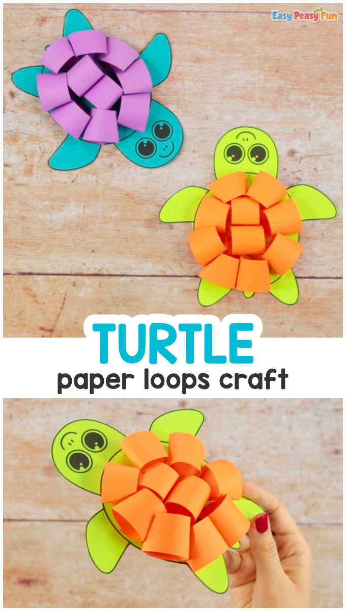 Paper Loops Turtle Craft Idea for Kids