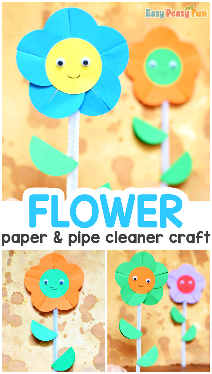 Paper and Pipe Cleaner Flower Craft for Kids