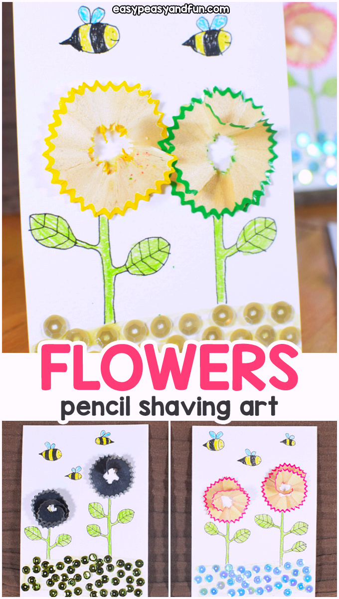 Pencil Shaving Flowers Art for Kids - Recycled Craft for Kids