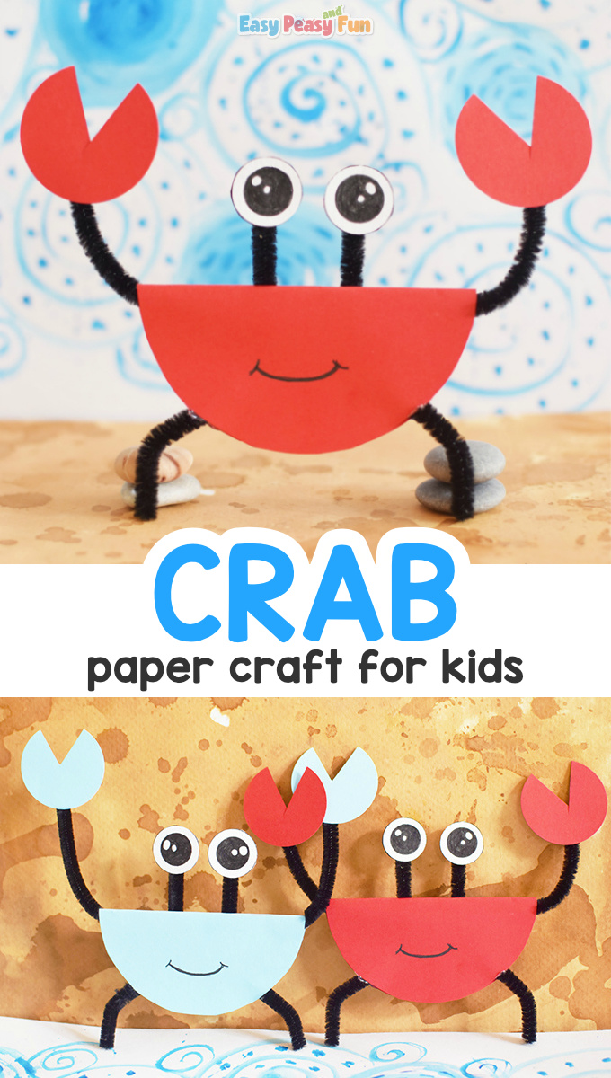 Pipe Cleaner and Paper Crab Craft for Kids