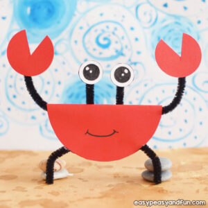 Pipe Cleaners and Paper Crab Craft for Kids