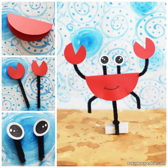 Pipe Cleaners and Paper Crab Summer Craft Idea