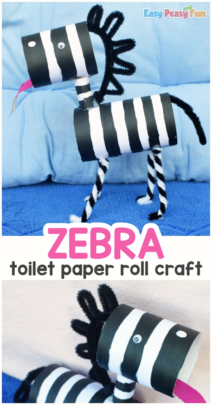 Toilet Paper Roll Zebra Craft for Kids