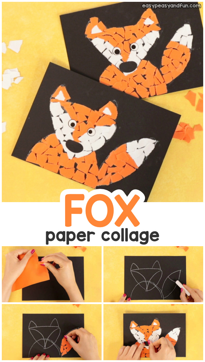 Paper Collage Fox Craft for Kids