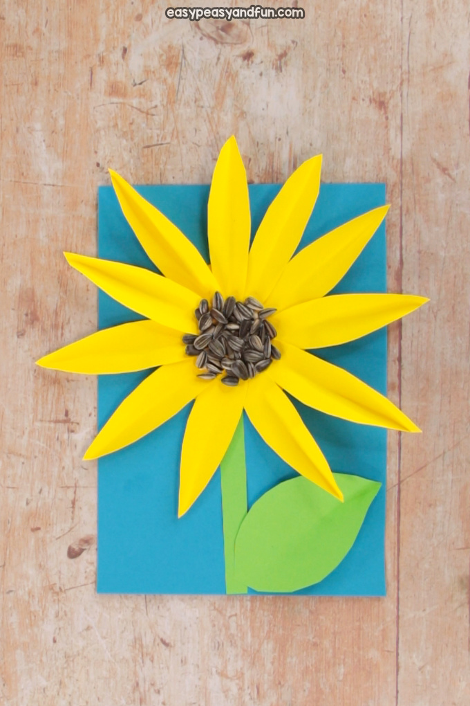Paper Sunflower Craft With Seeds