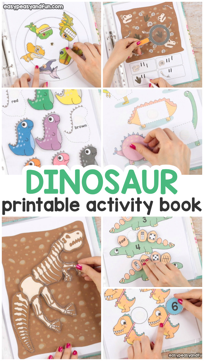 Printable Dinosaur Quiet Book. Fun activity book for preschool and kindergarten.