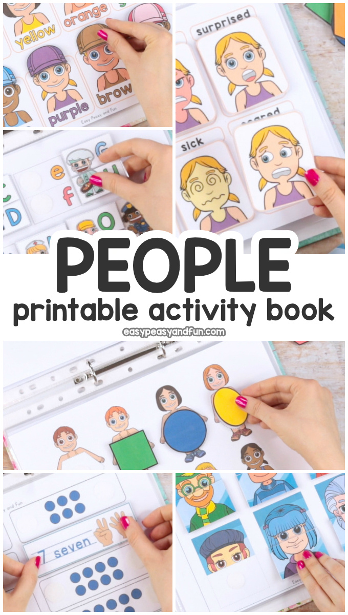 Fun Printable People Quiet Book - Activity Book for Pre-K and K