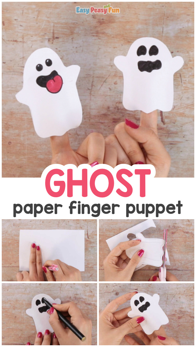 Ghost Paper Finger Puppet Craft for Kids
