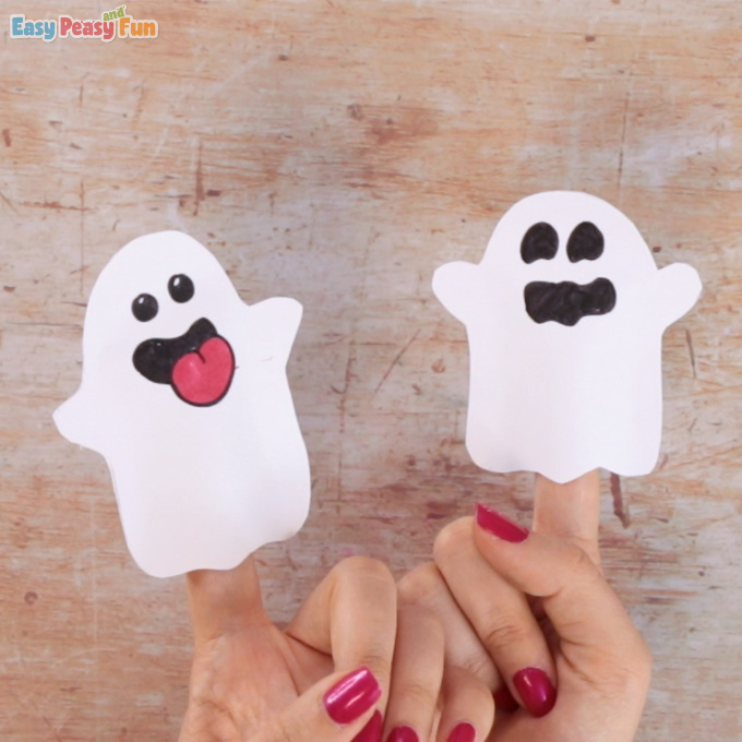 Ghost Paper Finger Puppet Craft