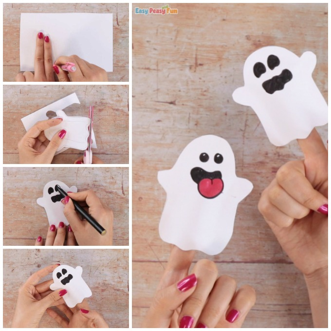 Paper Ghost Finger Puppet Craft