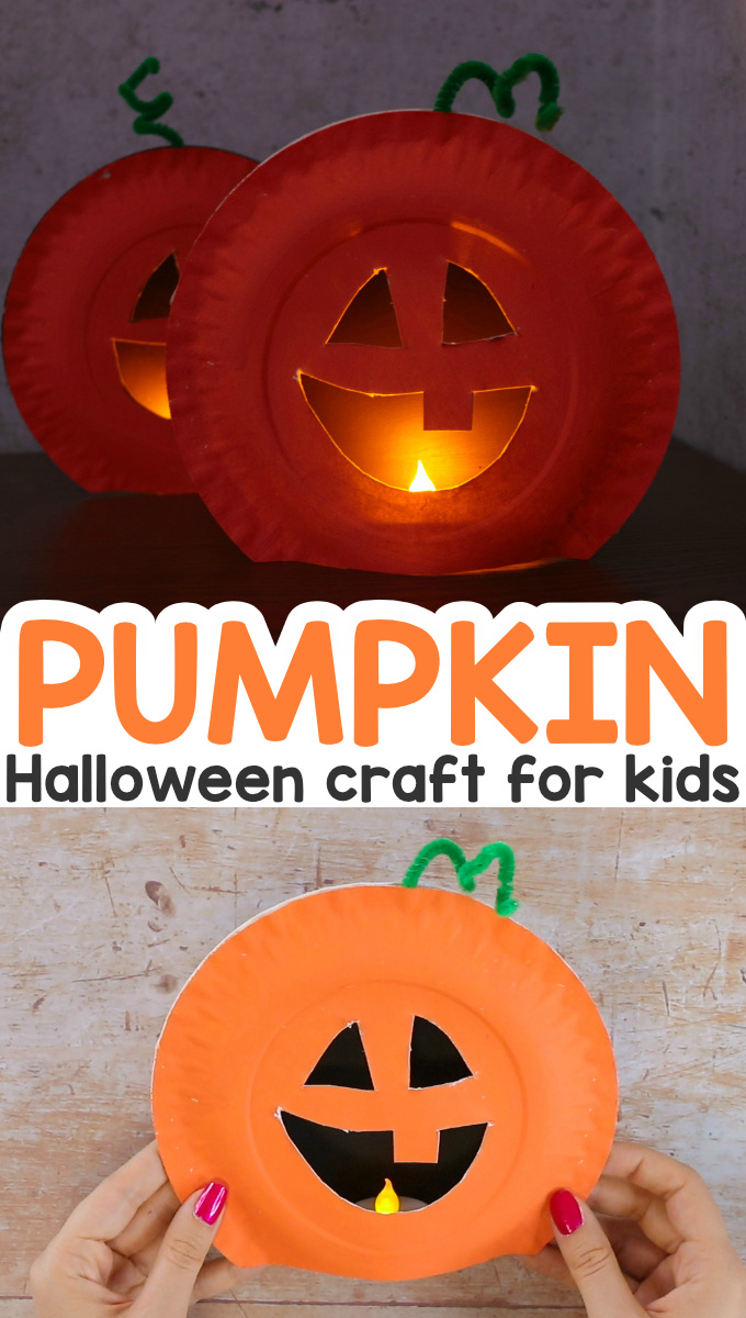 Paper Plate Pumpkin Halloween Craft for Kids. The best alternative to Halloween carved pumpkins.