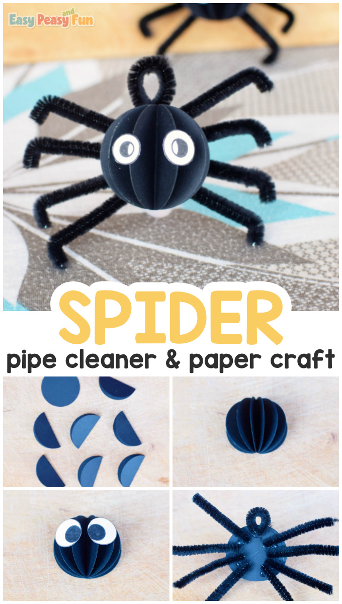 Pipe Cleaner and Paper Spider Halloween Craft for Kids