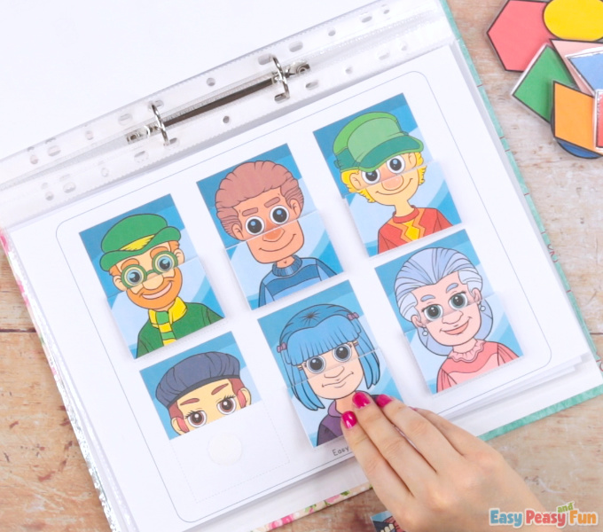 Printable People Quiet Book - Matching