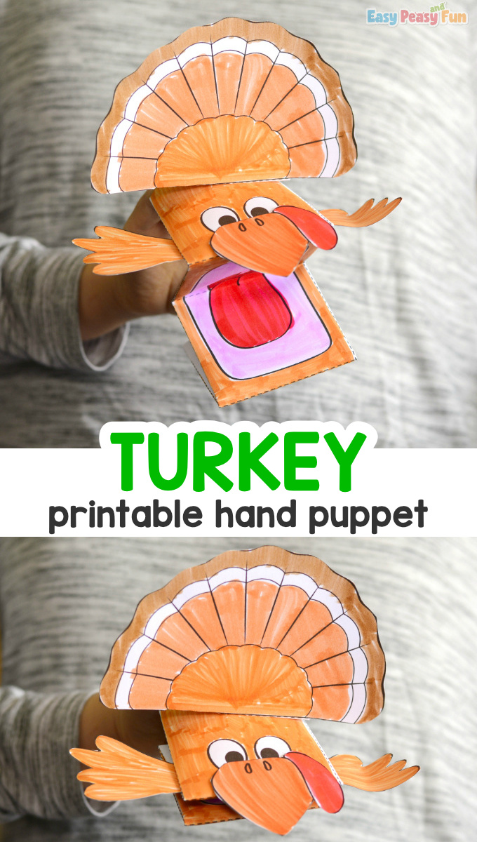 Turkey Puppet Printable Template for Kids