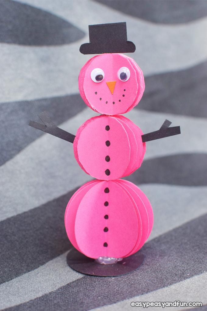 3D Paper Snowman Craft