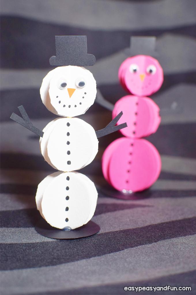 3D Paper Snowman Craft for Kids
