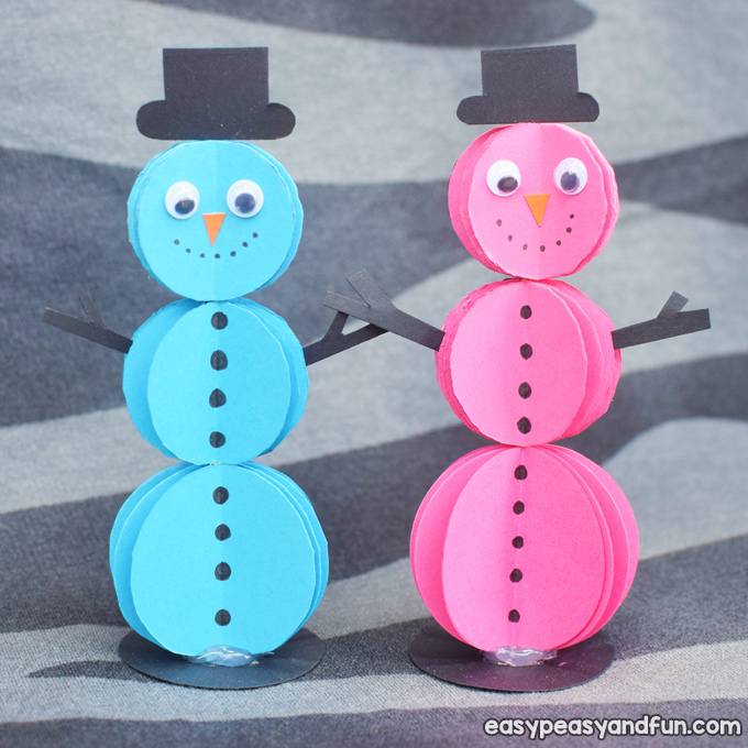 3D Paper Snowman Craft for Kids to Make