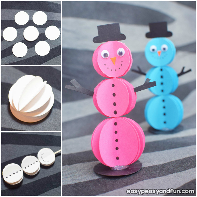 3D Papier Schneemann Winter Craft Idee