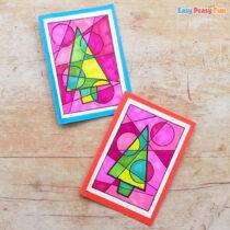 Abstract Colorful Homemade Christmas Card