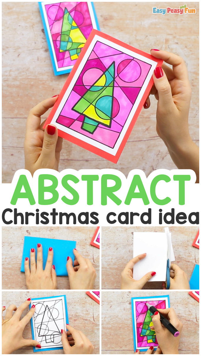 Abstract Colorful Homemade Christmas Card Idea for Kids