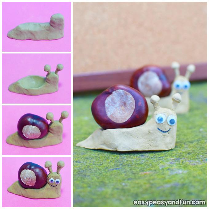 Chestnut Snail Craft for Kids Idea
