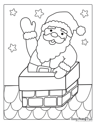 Santa in a Chimney Christmas Coloring Page