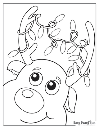 Christmas Lights Reindeer Coloring Page