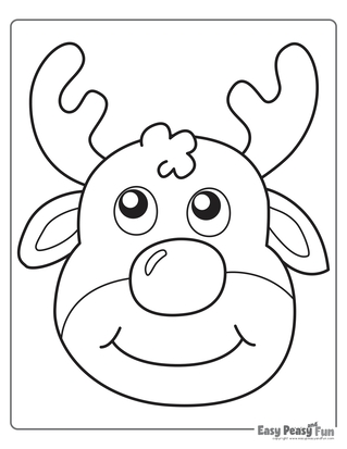 Simple Reindeer Coloring Page for Toddlers