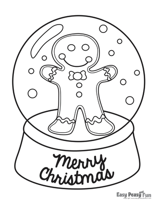 Christmas snow globe coloring page