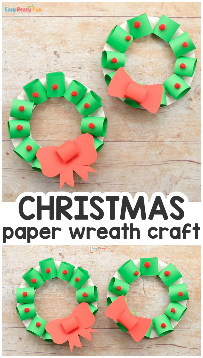 Easy Paper Christmas Wreath Craft for Kids