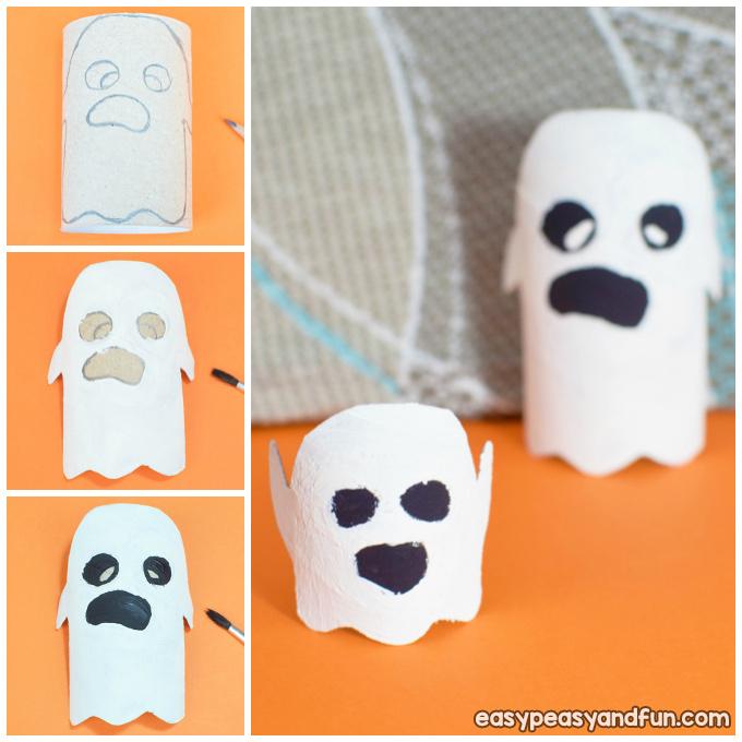Ghost Toilet Paper Roll Halloween Craft Idea