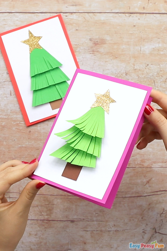 Paper Christmas Tree Card for Kids