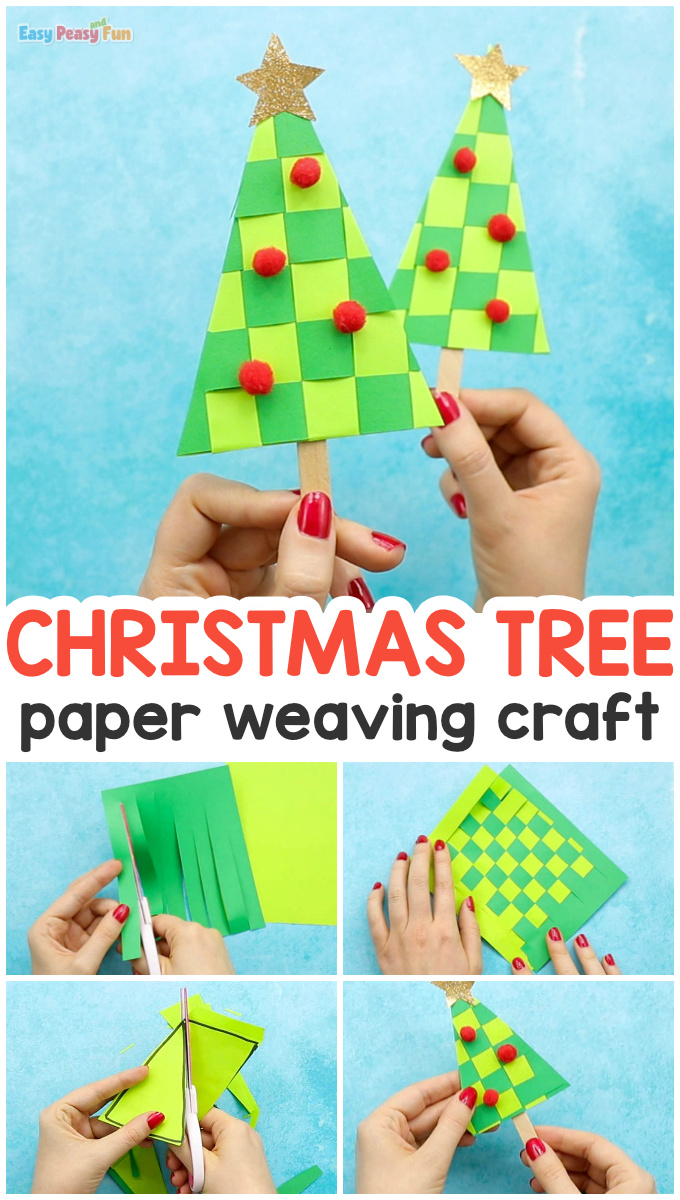 Paper Weaving Christmas Tree Craft Idea for Kids