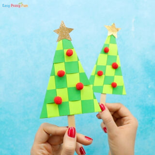 Paper Weaving Christmas Tree Craft for Kids